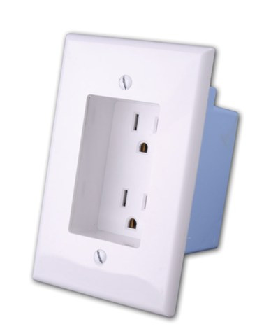 Rapid Link Power by Vanco- Recessed AC Duplex Outlet Plate