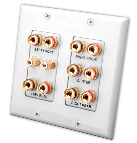 5.2 Home Theater Speaker and Sub Connection Wall Plate, White