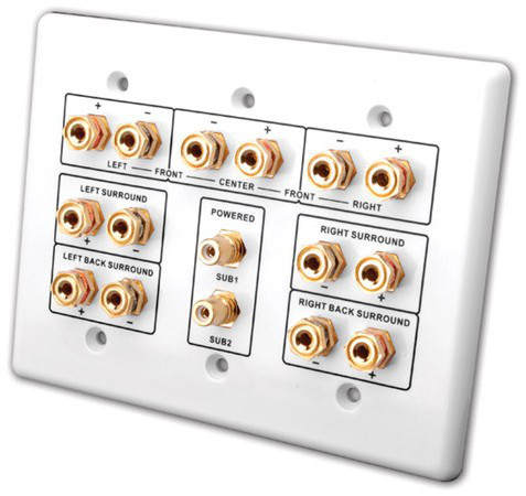 7.2 Speaker and Subwoofer Home Theater Connection Wall Plate - White