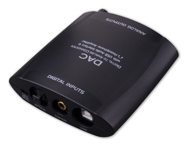 Digital to Analog Audio Converter with USB Audio Interface and Headphone Amplifier.