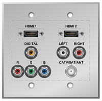 Dual HDMI, Component Video, Digital and Analog Audio and Catv/Sat/Antenna Wallplate