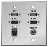 HDTV Connectivity Wall plate with 4 HDMI, Toslink Optical Digital and Cat6 Ethernet connections