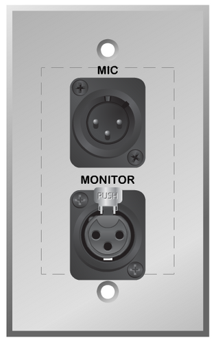 Microphone and Monitor Wall plate with XLR Male and Female