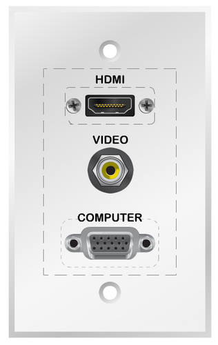 Custom AV Wall Plate for Projectors, with HDMI, Composite Video and VGA connectors