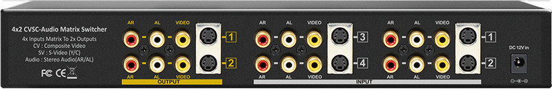 Shinybow SB-5450M 4x2 Composite, S-Video, Audio Matrix Routing Switcher with IR remote control