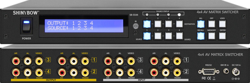 Shinybow SB-5544LCM 4x4 Composite Video, Stereo Audio Matrix Switcher front and back