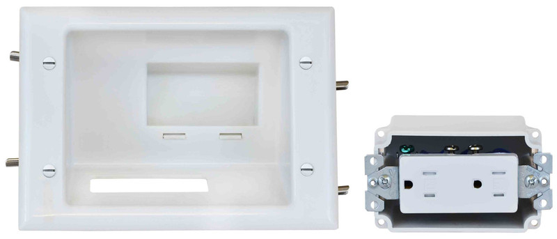 Recessed Low Voltage Mid-Size Plate with Duplex Receptacle
