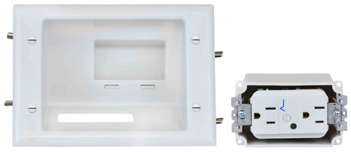 Recessed Low Voltage Mid-Size Plate with Duplex Surge Suppressor