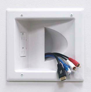 Recessed Low Voltage Media Plate with Duplex 120VAC Surge Suppressor outlet