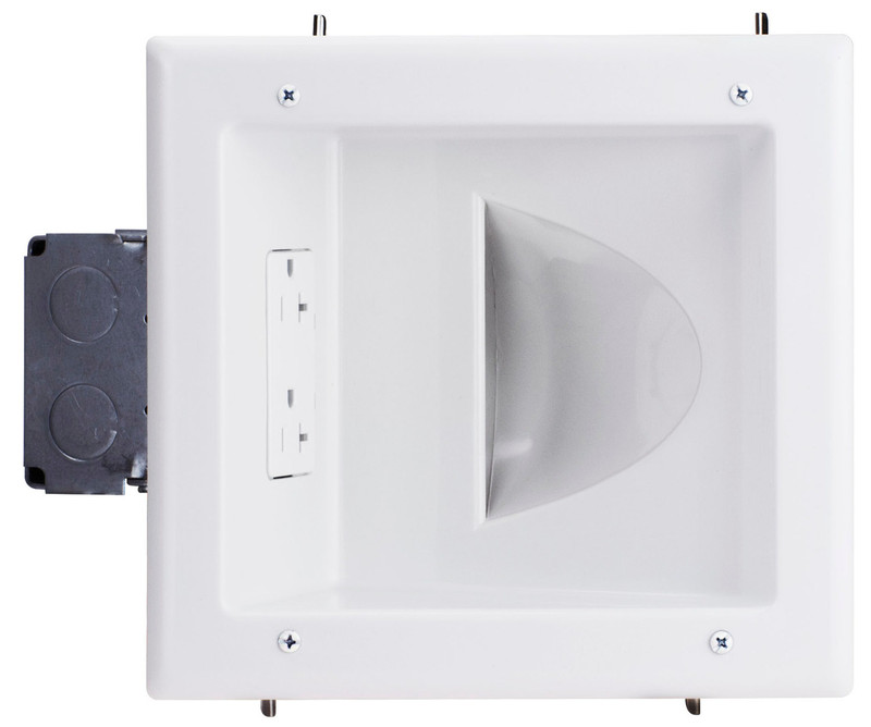 Recessed Low Voltage Media Plate with 20 Amp Duplex Receptacle