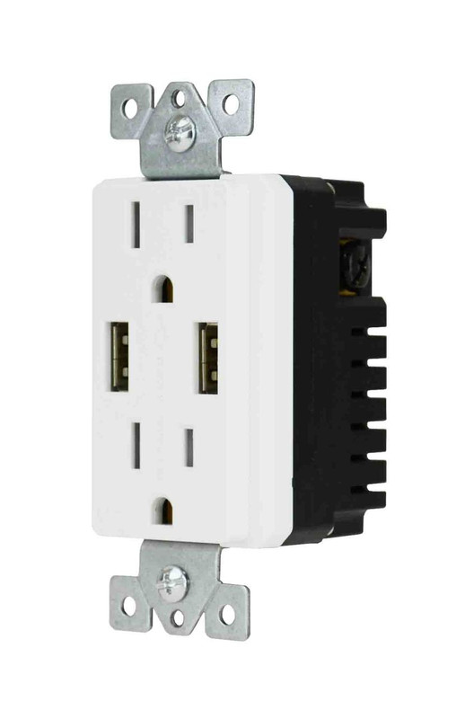 125VAC Tamper Resistant Outlets with 4.0A 2 port USB Charger.