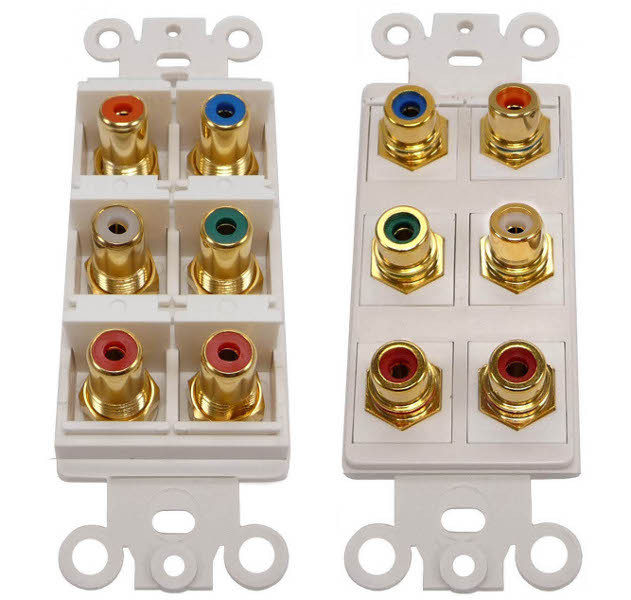 Component Video, Stereo L/R and Coaxial Digital Audio RCA jack Wall Plate