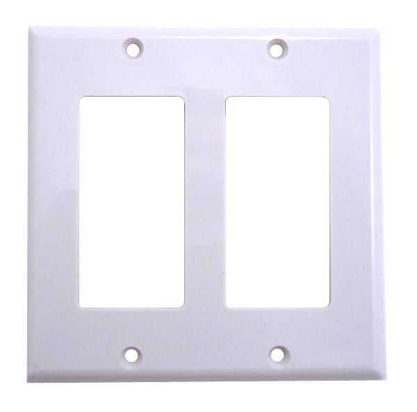 White plastic double gang Wall plate