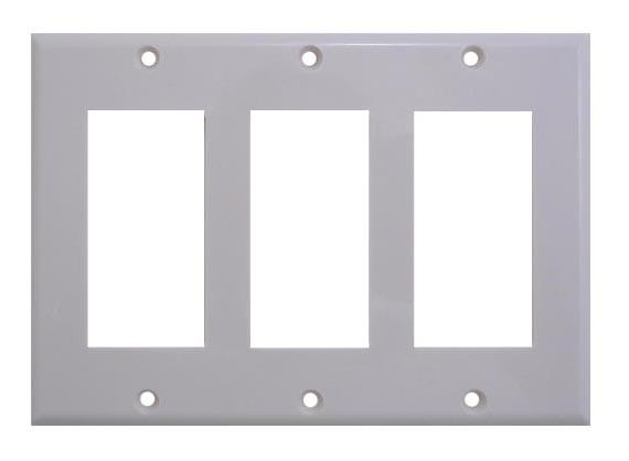 "White plastic triple gang ""Designer Style"" Wall plate"