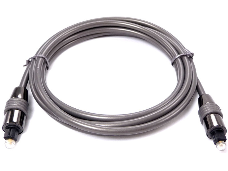 Toslink Cable, 10 feet long, High performance, metal Hood with gold plated cladding, 5mm diameter low loss Optical fiber