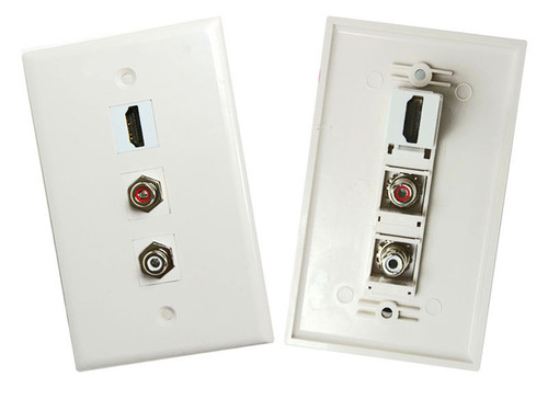 HDMI with 2 RCA Stereo Audio (Red, White) wall plate