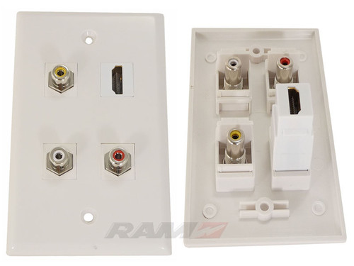 Wall Plate with HDMI with 3 RCA's,  Stereo Audio and Composite Video or Digital Audio
