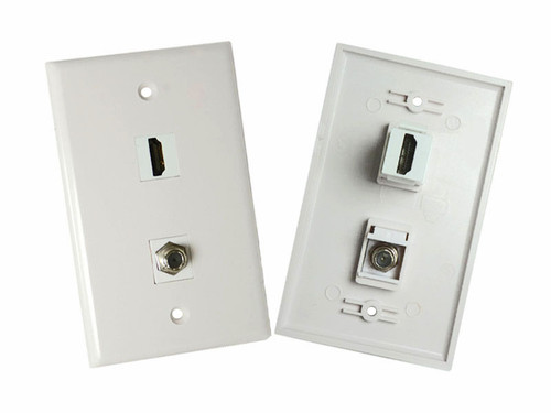 Wall Plate with HDMI and Coax F-connector