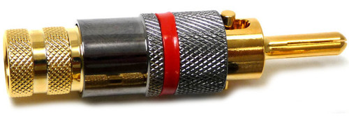 Solderless Locking Banana Plug, gold plated, Red Color Coded