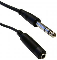 "Headphone extension cable for standard 1/4"" Stereo headphone plug connectors"