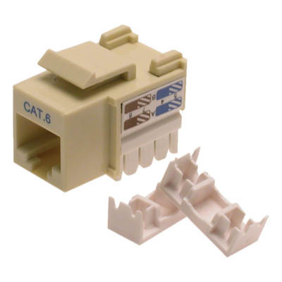 Cat6 Keystone jack, RJ45, 110 punchdown, 90 degrees