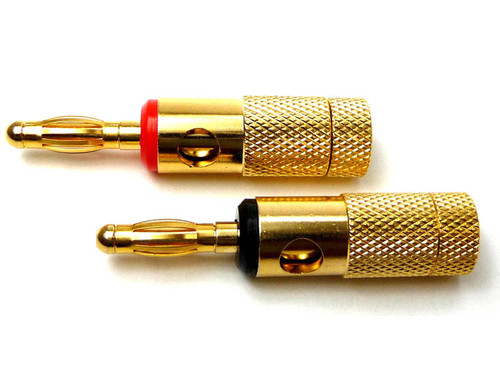 Gold Banana Plugs - Dual entry tooless solderless Banana plug, gold plated, with Red or Black Color Code
