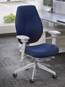 airCentric Modern Office Chair Synchro Glide Light Gray, Air Knit Navy