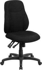 Armless Black Fabric Office Chair with Lumbar Support Back