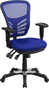 Contemporary Mesh Mid Back Ergonomic Office Chair, Blue