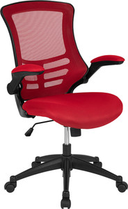 Task Office Chair with Flip UP Arm, Red Mesh