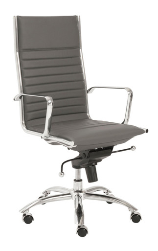 Dirk High Back Office Chair in Black and Chrome