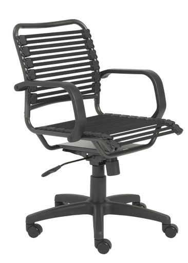 Flat Bungie Desk Chair in Graphite Black with Armrest