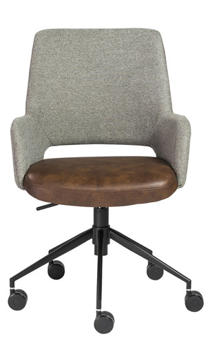 Desi Office Chair in Vintage Style Distressed Soft Leatherette (Light Brown)