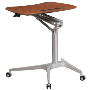 Mahogany Ergo Height Adjustable Small Compact Desk for Home Office UP-MOBILE