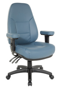 Ergonomic High Back Chair in Antimicrobial Blue Upholstery – Quick Ship