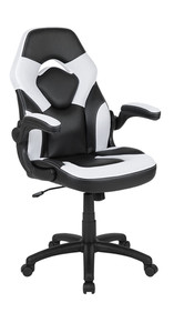 HealthyPosture PC Gaming Chair Racing Desk Chair with Foldable Arms, White/Black LeatherSoft