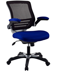 Edge Mesh Computer Chair with Flip-up Arms Blue