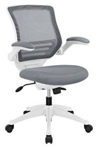 Edge Gray & White Tilt Lock Desk Chair with Flip Arms