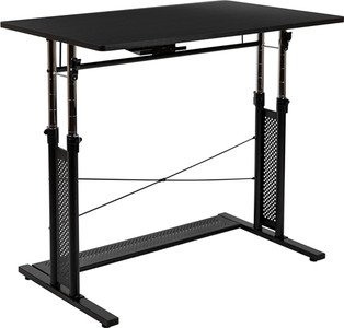 """Height Adjustable  Sit to Stand Home Office Desk, Black - (27.25-35.75""""H)"""