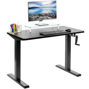 "VIVO Hand Crank Adjustable Stand Up Desk (43"" x 24"") - Black"