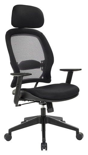 Office Star High Back Chair with Adjustable Headrest & Lumbar Support
