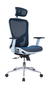 High Back Blue Mesh Office Chair with Headrest & Lumbar Support
