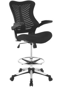 Charge Mesh Back & Foam Seat Drafting Chair with Flip-Up Armrest, Black