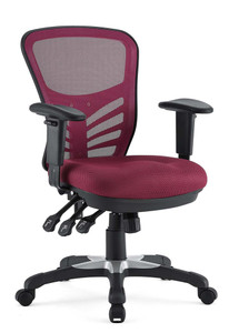 Articulate Mesh Back & Cushioned Computer Chair, Red