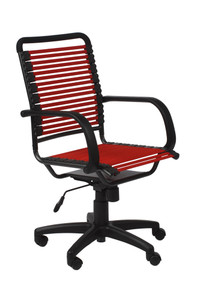 Euro Style Red Black Flat Bungie High Back Office Chair with Arms