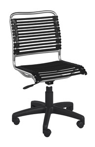 Euro Style Allison Flat Bungie Office Chair without Arms, 12540 Black/Aluminium