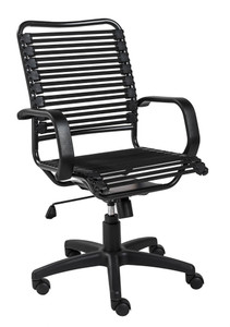 Allison Bungie High Back Task Chair with Flat Elastic Bungie Straps, in Black with Graphite Black Frame and Black Base