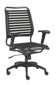 Baba Flat High Back Office Chair in Black with Graphite Black Frame and Black Base
