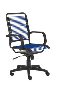 Euro Style Bradley Bungie Office Chair, in Blue with Graphite Frame and Black Base