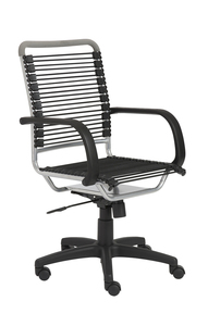Euro Style Breathable Bungee High Back Task Chair, in Black with Graphite Black Frame and Black Base